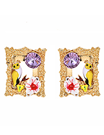 Fashion Gold Alloy Diamond-studded Bird Frame Earrings
