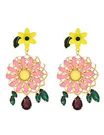 Fashion Color Alloy Diamond Flower Tassel Earrings