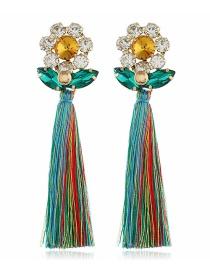 Fashion Green Diamond-studded Tassel Earrings