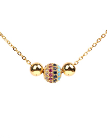 Fashion Ne0185-b Micro-inlaid Colored Diamond Ball Necklace