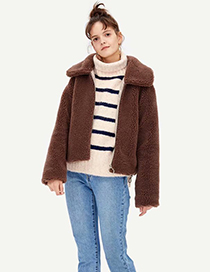 Fashion Brown Wool Lapel Short Coat