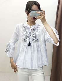 Fashion Blue Stripes Embroidered Striped Top
