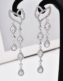 Fashion Silver S925 Silver Needle Leaves Water Droplets Micro-inlaid Zircon Earrings