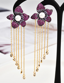 Fashion Red S925 Silver Pin Micro Inlaid Zircon Three-dimensional Flower Tassel Earrings