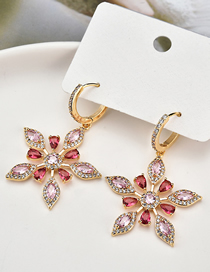 Fashion Red S925 Silver Needle Zircon Snowflake Ice Crystal Earrings
