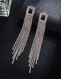 Fashion Gold + White Diamond Claw Chain Full Of Tassel Earrings