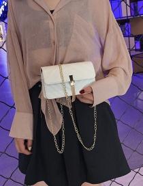 Fashion White Tassel Chain Shoulder Diagonal Package