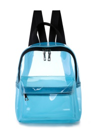 Fashion Sky Blue Pvc Waterproof Transparent Backpack