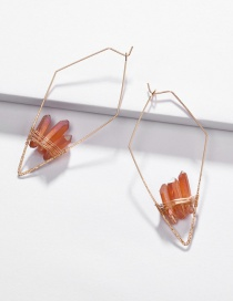 Fashion Yellow Copper Wire Geometric Arrow Natural Crystal Tooth Stone Woven Earrings
