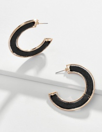 Fashion Black Alloy Wrapped Cotton Thread Hollow C-shaped Earrings