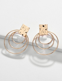 Fashion Gold Alloy Spray Paint Multi-layer Circle Square Earrings