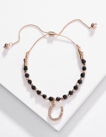 Fashion Black Alloy Drill U-shaped Pull Natural Stone Beads Bracelet