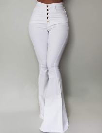 Fashion White High-waist Single-breasted Flared Pants