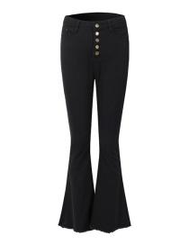 Fashion Black High-waist Single-breasted Flared Pants
