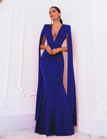 Fashion Sapphire Deep V-neck Halter Dress