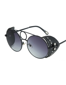 Fashion Black Frame Double Gray / Black Leather C1 Round Leather Rivet Border Sunglasses