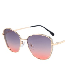 Fashion Up And Down Red C6 Sequin Strip Stitching Frame Sunglasses