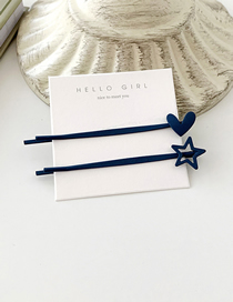 Fashion Navy Love / 1 Frosted Hollow Geometric Hair Clip