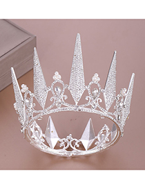 Fashion Silver Full Circle Crystal Crown