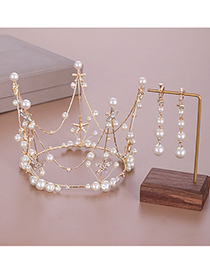 Fashion Gold Pearl Crystal Full Circle Queen Crown