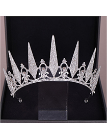 Fashion Silver Crystal Crown Headband