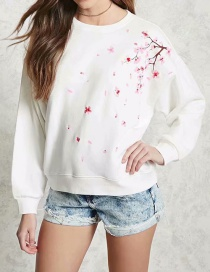 Fashion White Plum Embroidery Sweater