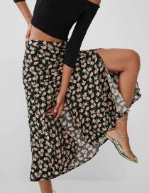 Fashion Color Split Elastic Waist Skirt
