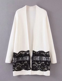 Fashion White Lace Stitching Cardigan