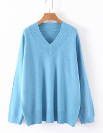 Fashion Light Blue Pullover