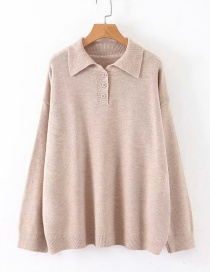 Fashion Khaki Button Square Collar Sweater