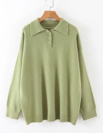 Fashion Green Button Square Collar Sweater