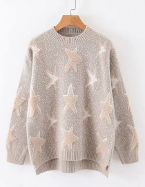 Fashion Khaki Pentagram Jacquard Round Neck Sweater