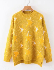 Fashion Ginger Yellow Pentagram Jacquard Round Neck Sweater