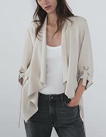Fashion Beige Large Lapel Coat