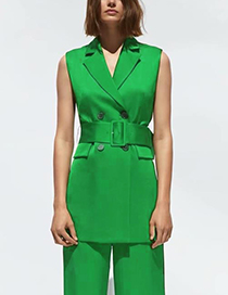 Fashion Armygreen Belted Double-breasted Suit Vest