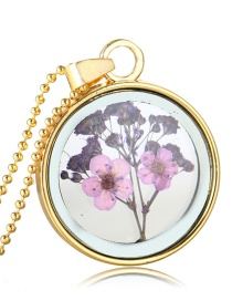 Fashion Gold + Purple Background + Light Purple Flower Gypsophila Flower Glass Phase Box Round Necklace