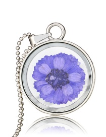 Fashion Purple Round Glass Chrysanthemum Plant Specimen Necklace
