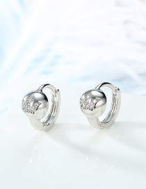 Fashion Silver Round Crown With Diamond Earrings