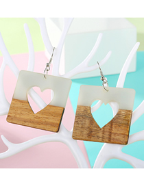 Fashion Square Heart Shape Large Oval Wood Earrings