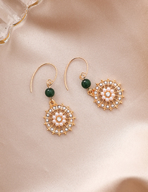 Fashion Gold Openwork Pattern Pearl-encrusted Round Earrings