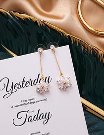 Fashion Gold 925 Silver Needle Flower Earrings