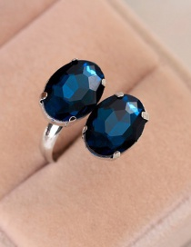 Fashion Blue Mosaic Topaz Ring