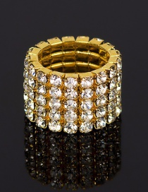 Fashion Gold Five Rows Of Diamond Rings