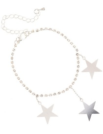 Fashion Silver Diamond Star Tassel Anklet