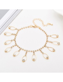 Fashion Gold Fringed Full Drill Anklet