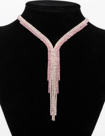 Fashion Pink Diamond Gradient Tassel Necklace