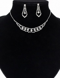 Fashion Silver Openwork Flower-studded Earrings Necklace Set