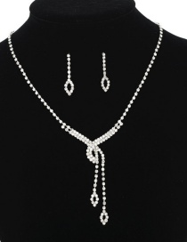 Fashion Silver Openwork Fringed Diamond Necklace Earrings Two-piece
