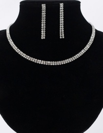 Fashion Silver Double Diamond Necklace Earring Set