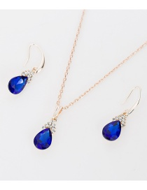 Fashion Blue Water Drop Diamond Necklace Earring Set